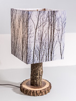 103: Table lamp with Idiana walnut base and photo silk shade with image of tops of walnut trees.