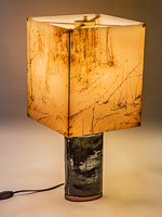 120: Table lamp with ceramic base and photo silk shade with image of grasses at Monahan Dunes TX.