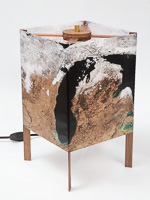 121: Table lamp of  photo silk  with NASA Worldview image of Michigan (March 23, 2018).