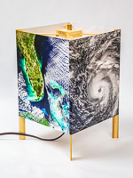 123: Basic table lamp of  photo silk  with NASA Worldview images of Florida (October 30, 2017) and hurricane Michael approaching the Gulf Coast (October 9, 2018).