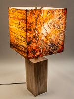 138: Table lamp with Indiana walnut base and photo silk shade with images of petrified wood.