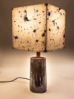 139: Table lamp with ceramic base and photo silk shade with negative NASA image of Eastern US at night.