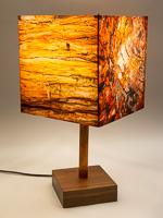 140: Table lamp with Indiana walnut base and photo silk shade with images of petrified wood.