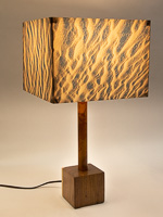 144: Table lamp with Indiana walnut cube base and photo silk shade with image of sand ripples in Death Valley dunes.