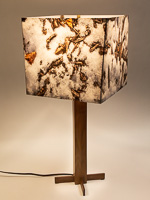 148: Table lamp with solid black walnut base and photo lampshade with image of melting snow.