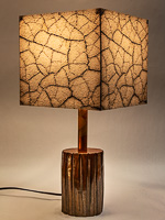 152: Table lamp with ceramic base and photo silk shade with image of Death Valley cracked mud.