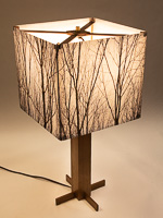 153: Table lamp with Indiana walnut base and photo silk shade with image of walnut trees in winter.
