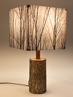 155a: Table lamp with Indiana walnut log base and photo silk shade with image of walnut trees in winter.