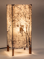 160: Table lamp with tall basic walnut base and photo silk shade with image of hoar frost on trees.