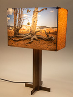 162: Table lamp with black walnut base and photo silk shade with a landscape photo of Bristlecone Pine trees.