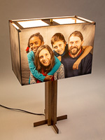 163: Table lamp with black walnut base and photo silk shade with a custom family photo.