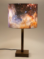 164: NASA Westerlund image: drum shade on a walnut and copper tube base