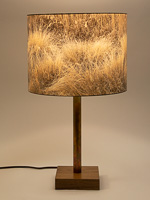 167: Grass image: drum shade on a walnut and copper tube base
