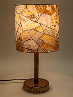 171: Table lamp with a ceramic base and photo silk shade with image of rock wall at Seminole Canyon State Park TX.