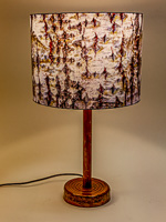 174: Table lamp with a ceramic base and photo silk shade with image of snow on a tree.