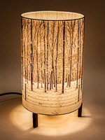 178: Minimalist lamp with photo lampshade with image of walnut trees and snow.