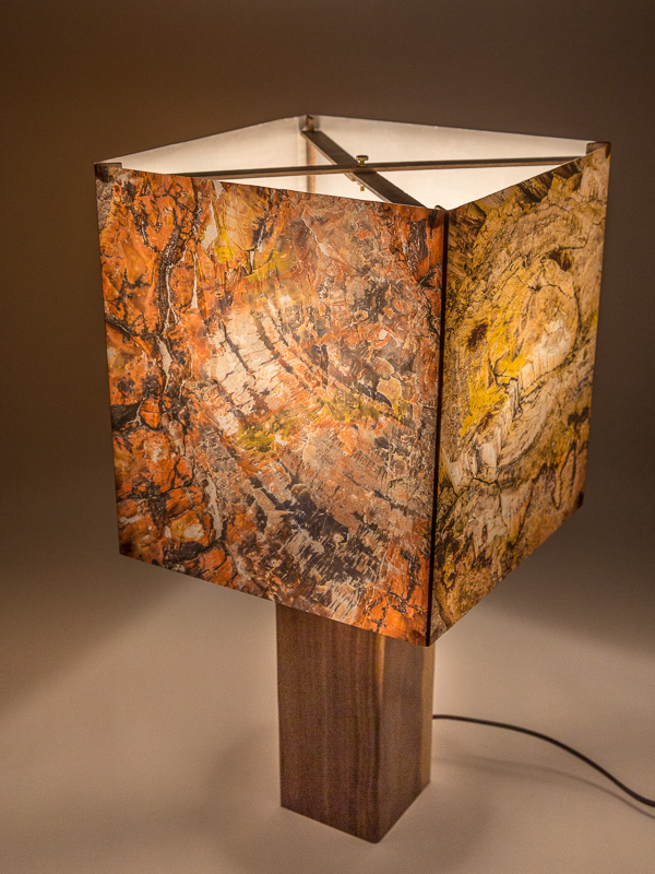 Table lamp with ceramic base and photo silk shade with images of petrified wood