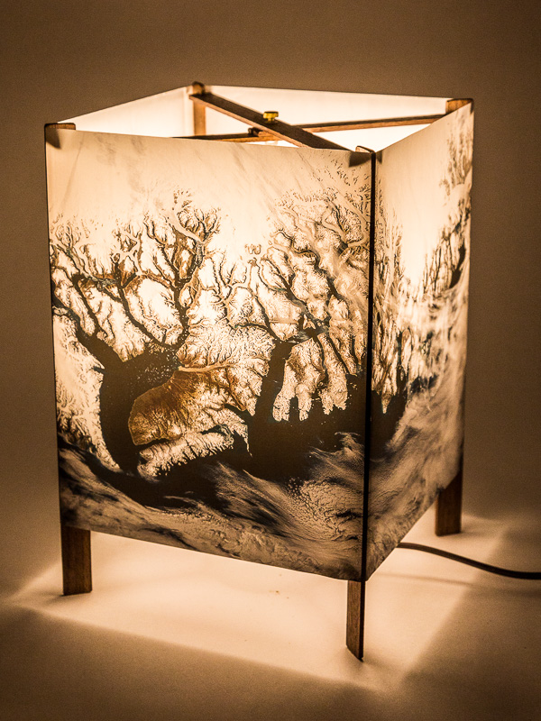 Table lamp of  photo silk  with NASA Worldview image of Greenland (September 4, 2018).