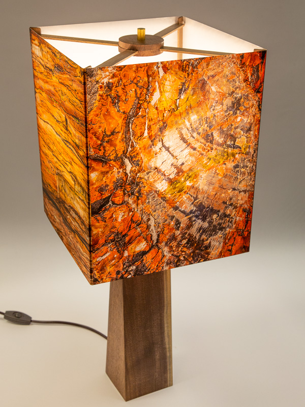 Table lamp with Indiana walnut base and photo silk shade with images of petrified wood.