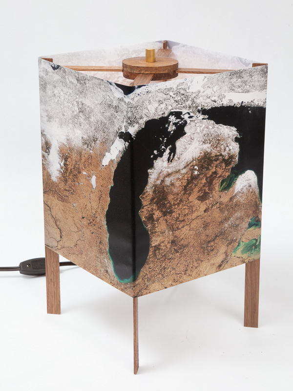 Table lamp of  photo silk  with NASA Worldview image of Michigan (March 23, 2018).