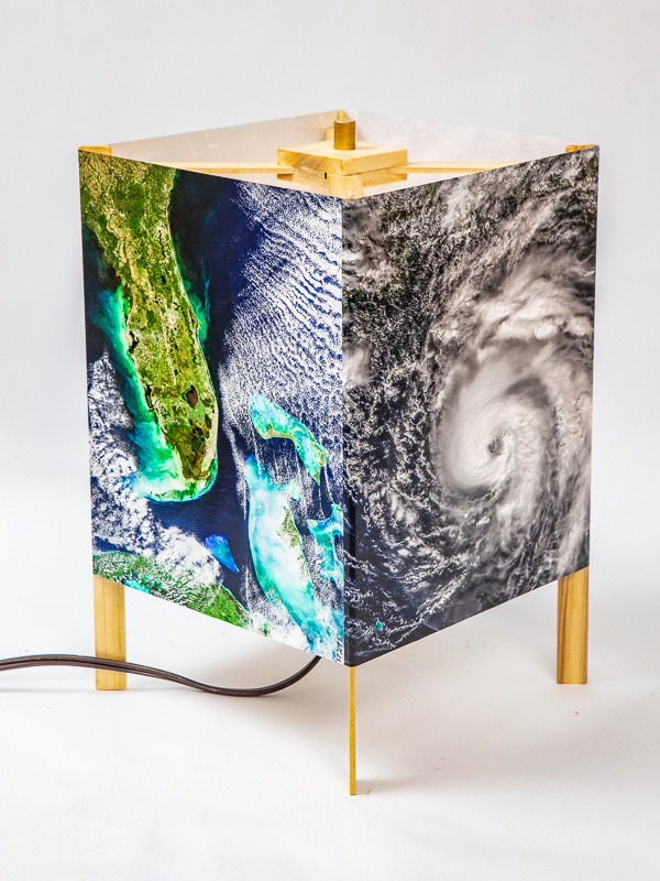 Basic table lamp of  photo silk  with NASA Worldview images of Florida (October 30, 2017) and hurricane Michael approaching the Gulf Coast (October 9, 2018).