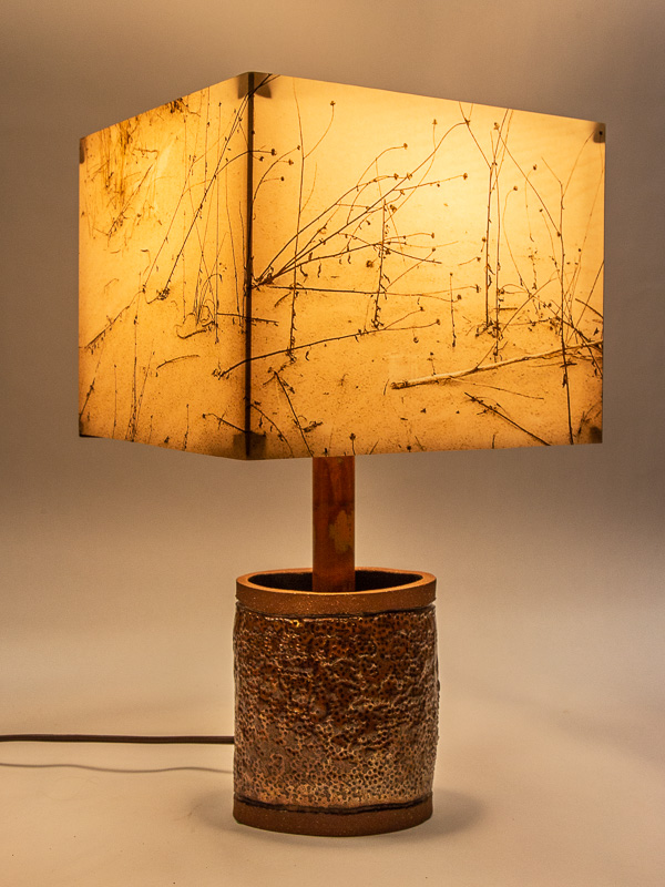 Table lamp with ceramic base and photo silk shade with image of grasses at Monahan Dunes TX.