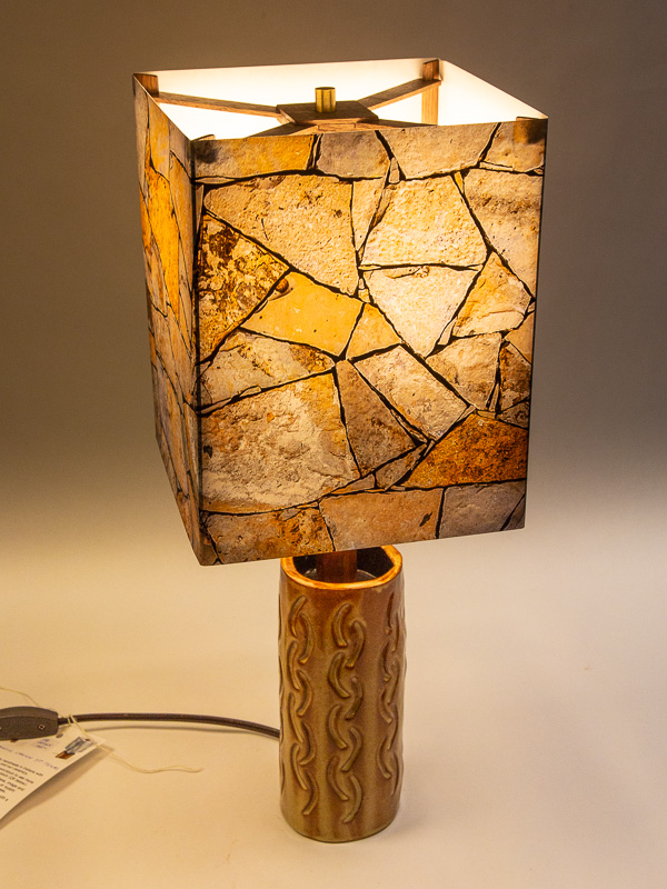 Table lamp with ceramic base and photo silk shade with image of rock wall at Seminole Canyon State Park TX.