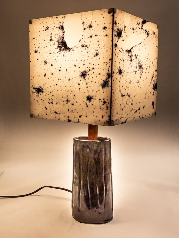 Table lamp with ceramic base and photo silk shade with negative NASA image of Eastern US at night.