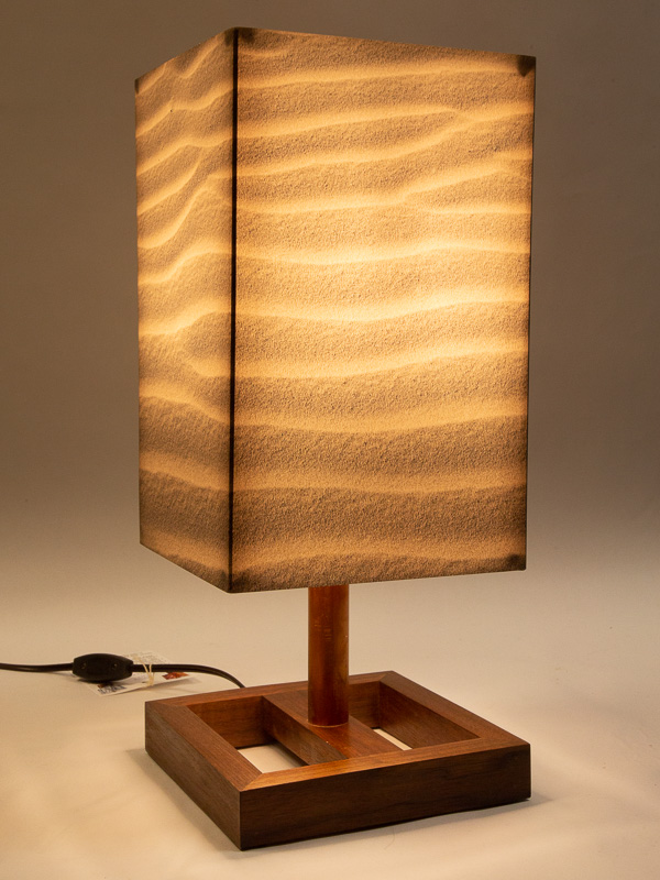Table lamp with Indiana walnut base and photo silk shade with image of sand ripples in Death Valley dunes.