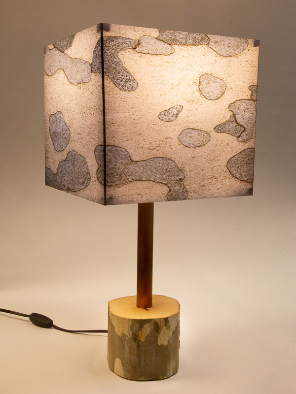 Table lamp with sycamore log base and photo silk shade with image of sycamore bark.