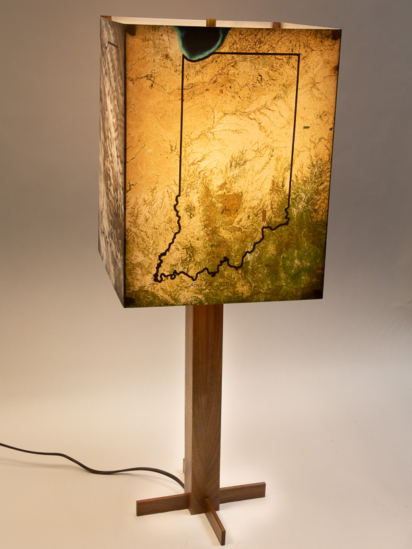 Table lamp with solid black walnut base and photo lampshade with NASA sattelite views of Indiana