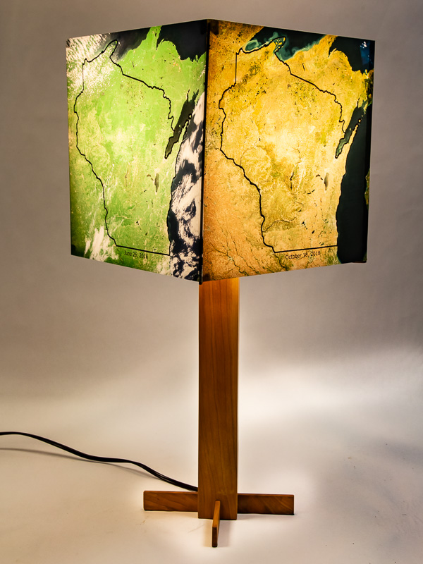 Table lamp with solid cherry hardwood base and photo lampshade with four NASA sattelite views of Wisconsin