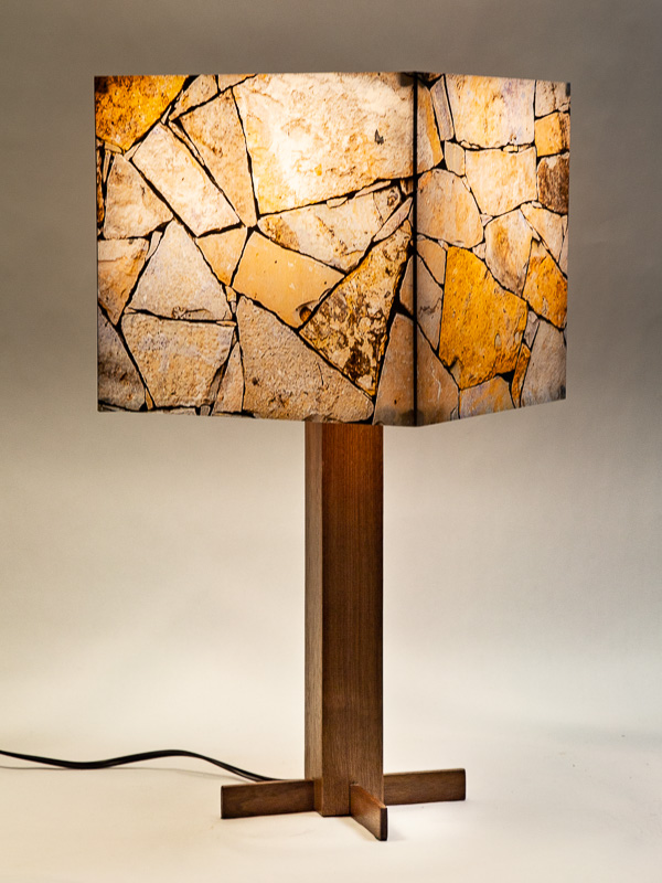 Table lamp with black walnut base and photo silk shade with image of rock wall at Seminole Canyon State Park TX.