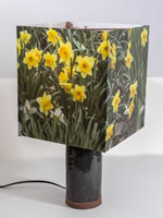 Photo panorama of flowers on a custom table lamp with ceramic base.