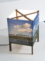 Standard table lamp with panoramic landscape image.