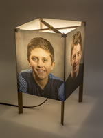 Portraits on a standard table lamp