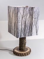 Custom table lamp with walnut slab base, walnut tower, and image of walnut grove in winter.